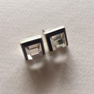Chico's emerald cut square gemstone earrings